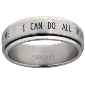 I Can Do All Things Stainless Steel Spinner Ring size 8: Jewelry