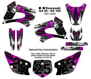 Kawasaki KX 85 /100 MX Graphic Decal Kit 4444 Hot Pink