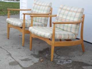 Pair Lounge Chairs after Russel Wright Conant Ball Danish Modern eames