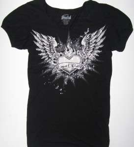 Womans SINFUL by Affliction Black White Logo T Shirt Size XL X Extra
