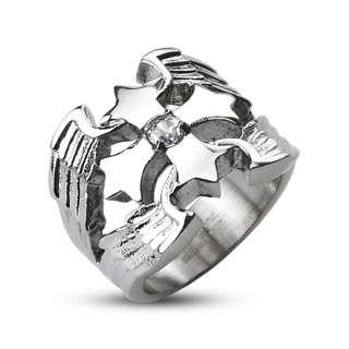 Stainless Steel Elegant Mens Winged CZ Maltese Cross Band Ring