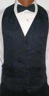 Navy Blue Paisley Tuxedo Vest / Tie Prom Wedding Medium