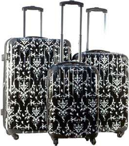 3Piece Luggage Set Hard Rolling 4 Wheels Spinner Floral