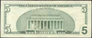 Five Dollar Bill Star bill Dl07858651 2003