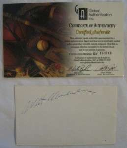 WILT CHAMBERLAIN SIGNED AUTOGRAPHED INDEX CARD~GAI COA