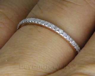 Solid 14kt Rose Gold 0.38Ct Pave Full Cut Diamond Wedding Bands Ring