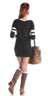 New Womens V Neck Sweater Dress/Long Top Size S M L XL