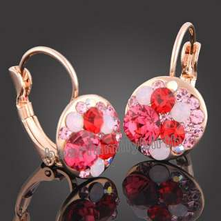 18k rose Gold Gp multi swarovski crystal earrings 656