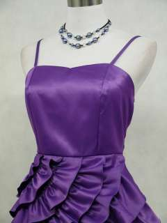 Cherlone Satin Purple Ruffle Prom Cocktail Party Ball Evening Dress