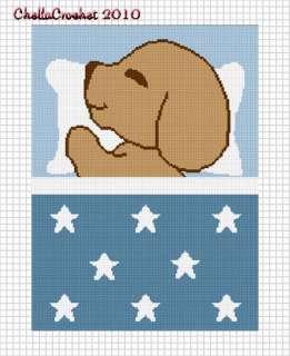 Sleeping Puppy Dog Blue Afghan Crochet Pattern Graph