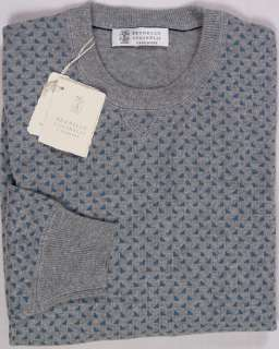BRUNELLO CUCINELLI SWEATER GRAY/BLUE 100%CASHMERE CREWNECK JUMPER LG