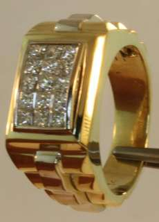 14k yellow white gold gents 1ct invisable princess diamond ring mens