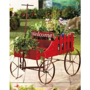 Red Welcome Wagon Garden Flower Pot Planters Everything