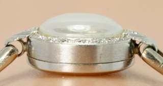 ANTIQUE 14K WHITE GOLD .15CT 16 ROUND DIAMOND LADIES DECO WATCH