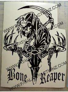 Bone Reaper Deer Skull Vinyl Sticker Decal Hunt Buck whitetail grim