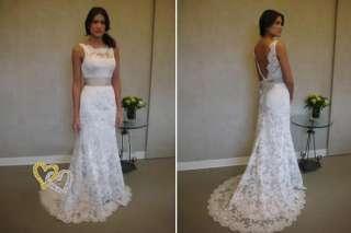 White Lace Bridesmaid Dress Wedding Dress Bridal Gowns*
