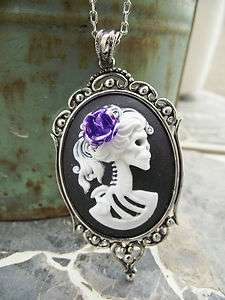 Day of the Dead Horror Zombie White Black Cameo Purple Rose Necklace