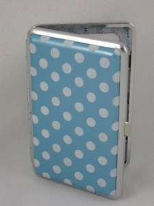 Sky Blue/ White Polka Dot Wallet Business Card Holder