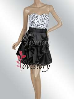 Printed Black White Strapless Exquisite Mini Prom Dress 03151 Size S