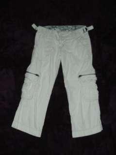 AEROPOSTALE 0 off white LOW rise CARGO Capri Pants 27x20.5
