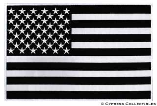 BLACK & WHITE AMERICAN FLAG EMBROIDERED IRON ON PATCH   LARGE 11 INCH