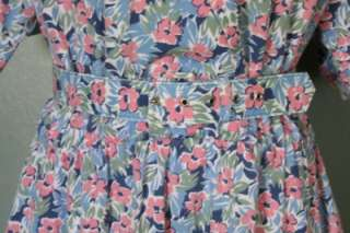 Vtg 80s Bridge Gate FLORAL Belt Shirt Dress Women M/L