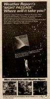 1981 WEATHER REPORT NIGHT PASSAGE ALBUM PROMO AD