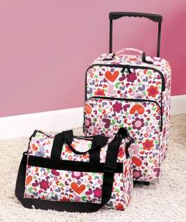 2PC LUGGAGE ROLLING SUITCASE TOTE BAG NEW GIRL HEART FLOWER SLEEPOVER