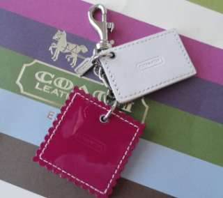 New Coach 92838 Love Letter Leather Keychain Key Fob Charm RARE