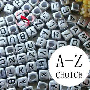 Silver Square Alphabet Letter Acrylic Plastic 6mm Beads A Z 43C9308