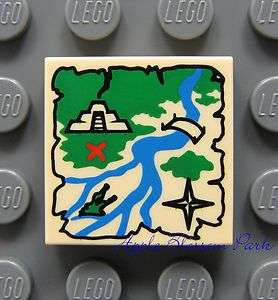 NEW Lego TREASURE MAP 2x2 Decorated FLAT TILE   Tan Pirate Map w/Red X