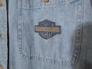 Harley Davidson Denim / Jean Shirt, Ladies Med, Long Sleeve