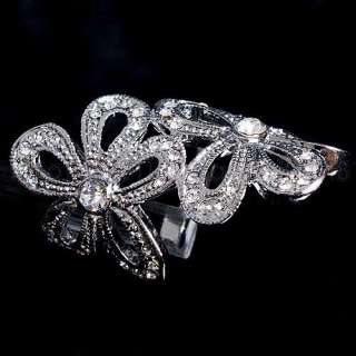 9CT Swarovski Crystal Flower Ring  A01
