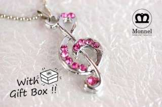A42 Pink Music Note Charm Pendant Necklace (+Gift Box)