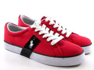 New Polo Ralph Lauren Giles Low Red/Navy Blue Men Shoes
