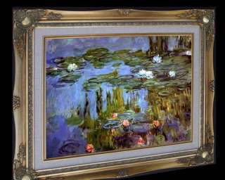 MONET WATER LILIES 1915 FRAMED CANVAS GICLEE REPRO