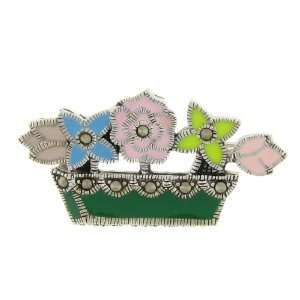 Silver Marcasite Multi Color Enamel Flower Pot Brooch Jewelry