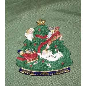 FITZ & FLOYD CHRISTMAS TREE SANTA CANAPE PLATE 1997