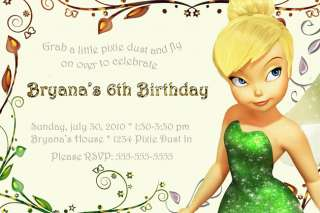 TINKERBELL Fairies Custom BIRTHDAY PaRtY INVITATIONS