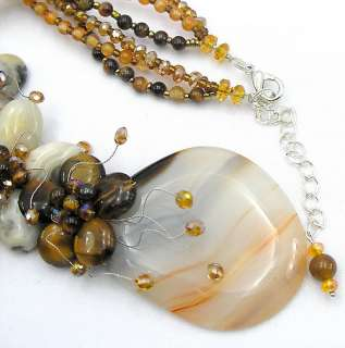 Crazy Lace Agate Tiger Eye Crystal Glass Beads Flower Necklace 17
