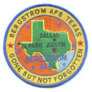 USAF BASE PATCH, BERGSTROM AIR FORCE BASE TEXAS *