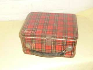Vintage Aladdin Metal Red Tartan Plaid Lunch Box without Thermos