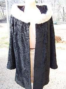 Vintage Black Persian Lamb Coat Coats Jacket Mink Silk Womens