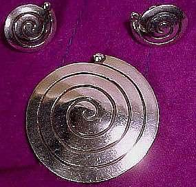 CARMEN BECKMANN MEXICAN STERLING PIN & EARRINGS c1960s