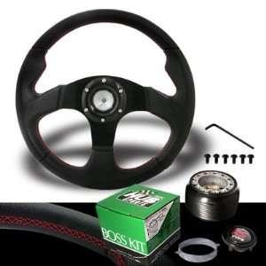 2004 2009 Scion xB Jet Red Stitches Black Steering Wheel