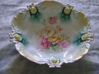RS PRUSSIA BOWL antique floral roses porcelain