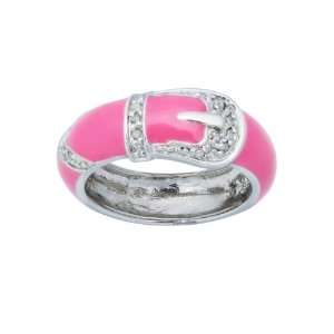 Sterling Silver Deep Pink Enamel Diamond Accent Womens