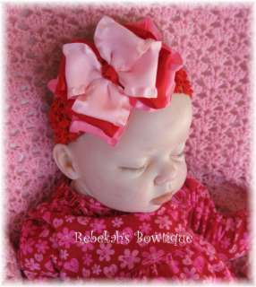 VALENTINES DAY INFANT TODDLER + HAIR BOW HEADBAND CLIP