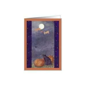 HALLOWEEN BLACK CAT FULL MOON TRICK OR TREAT Card Health