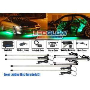 10pc Green Wireless Led Underbody & Interior Kit Automotive